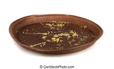 Pie crumbs on brown paper plate isolated on white