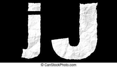 Alphabet on crumple white paper