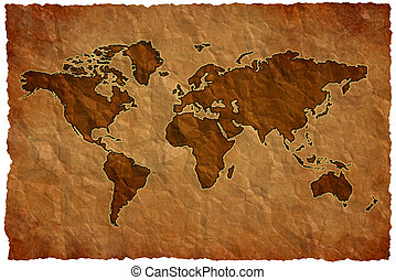 Crumple paper world map - World map on crumple sheet...