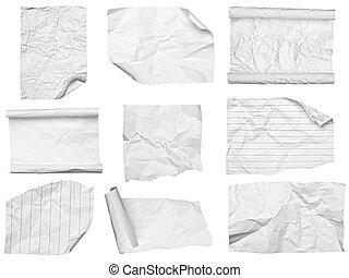 crumpled, бумага, край, curled, белый