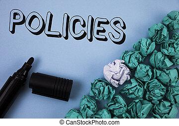 crumpled, концепция, текст, бумага, маркер, синий, следующий, написано, it., бизнес, правительство, rules, компания, нормативно-правовые акты, имея в виду, задний план, policies., мячи, одноцветный, standards, почерк, или