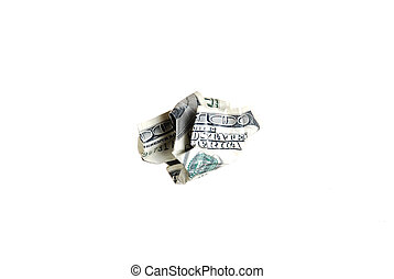crumpled 100 dollar bill on a white background