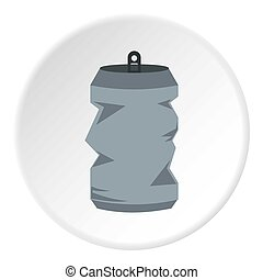 Crumpled aluminum can icon, flat style