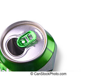Crumpled Aluminum can isolated on white background.