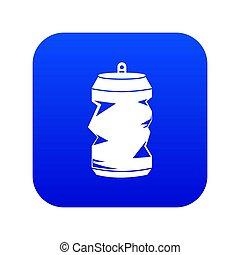Crumpled aluminum cans icon digital blue