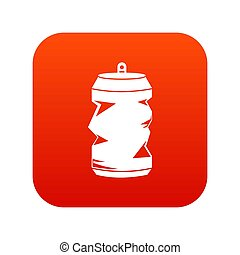 Crumpled aluminum cans icon digital red