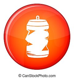 Crumpled aluminum cans icon, flat style
