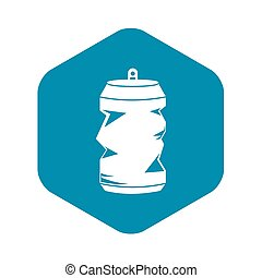 Crumpled aluminum cans icon, simple style