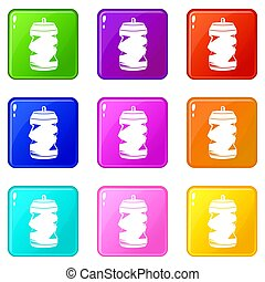 Crumpled aluminum cans icons 9 set