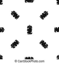 Crumpled aluminum cans pattern seamless black
