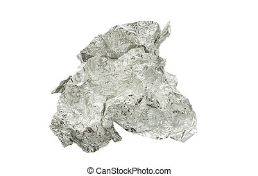 crumpled aluminum foil isolated on white background