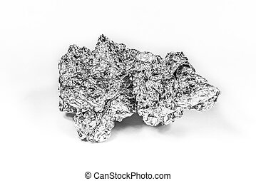 Crumpled aluminum foil on white background