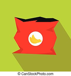 Crumpled bag of chips icon, flat style