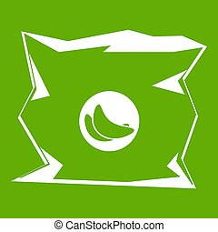 Crumpled bag of chips icon green