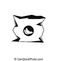 Crumpled bag of chips icon, simple style