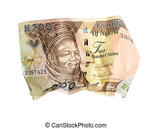 crumpled banknote on a white background.