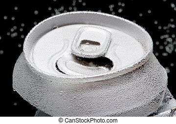 Crumpled beverage can with bubbles macro