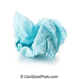 paper napkin - crumpled blue paper napkin on a white...