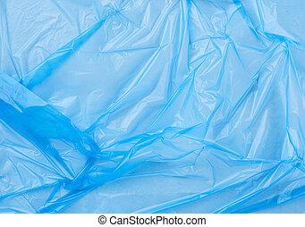 crumpled blue polyethylene texture