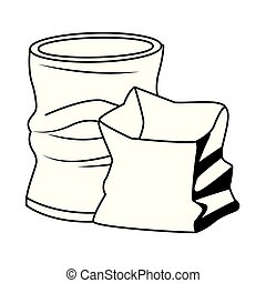 crumpled can and paper icon cartoon in black and white