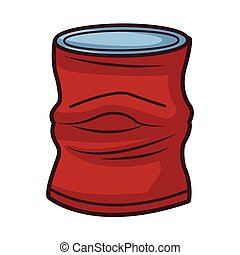 crumpled can icon cartoon isolated