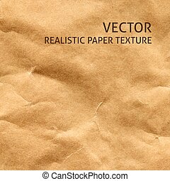 Crumpled craft paper vector background. Grunge paper texture.