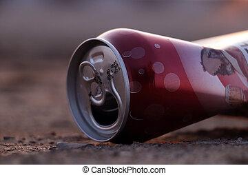 crumpled empty beer can