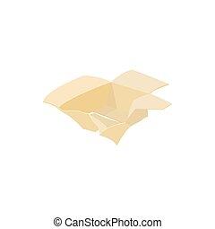 Crumpled empty cardboard box icon, cartoon style