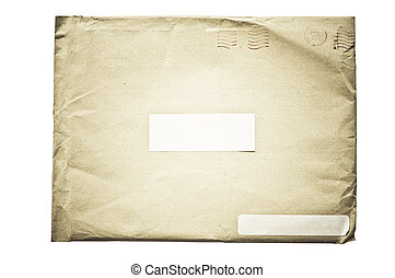 crumpled envelope - isolated crumpled envelope, with...