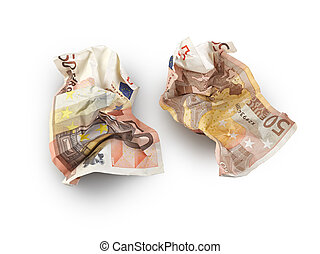 crumpled fifty euros bill isolated