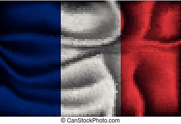 crumpled flag of France on a light background