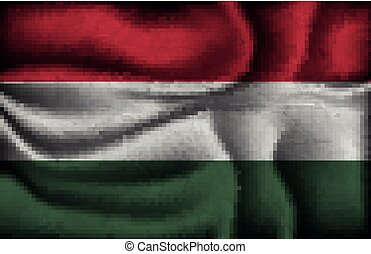 crumpled flag of Hungary on a light background
