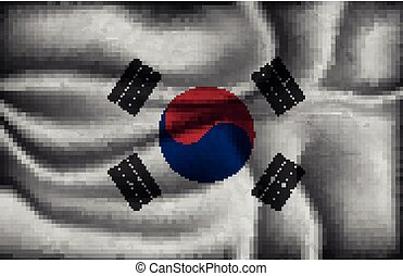crumpled flag of South Korea on a light background