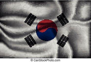 crumpled flag of South Korea on a light background