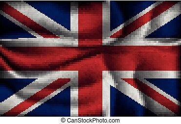 crumpled flag of United Kingdom on a light background