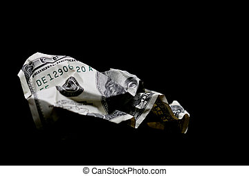crumpled hundred dollar bill - crumpled one hundred dollar...
