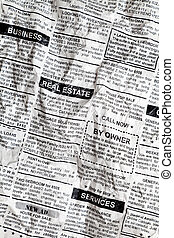 Crumpled Newspaper - Fake Classified Ad, Crumpled;...