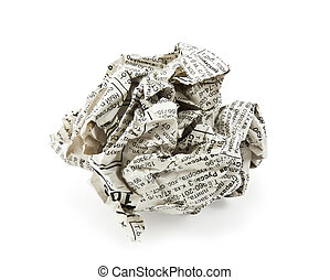 crumpled newspaper on a white background