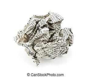 crumpled newspaper on a white background