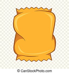 Crumpled packaging icon, cartoon style