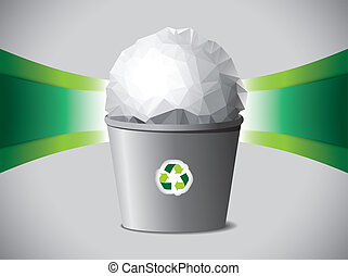 Crumpled paper ball in recycle bin
