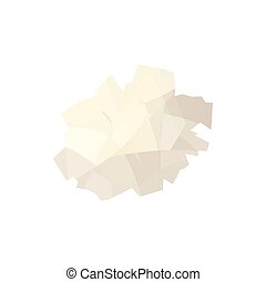 Crumpled paper icon, cartoon style