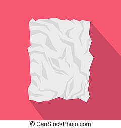 Crumpled paper icon, flat style