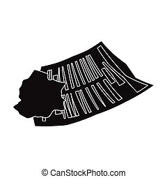 Crumpled paper icon in black style isolated on white...