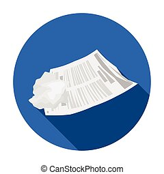 Crumpled paper icon in flat style isolated on white...