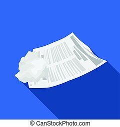 Crumpled paper icon in flate style isolated on white...