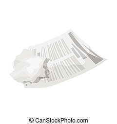 Crumpled paper icon in monochrome style isolated on white...
