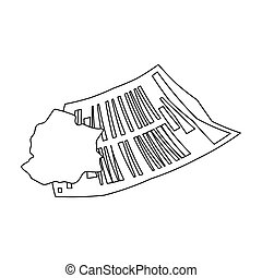 Crumpled paper icon in outline style isolated on white...