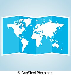 Crumpled paper of world map. Vector illustration