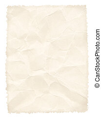 Crumpled paper page isolated on white